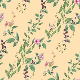 Pintura em aquarela de folhas e flores, padrão uniforme