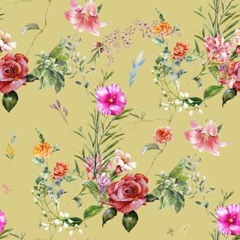 Pintura em aquarela de folhas e flores, padrão uniforme Foto Premium