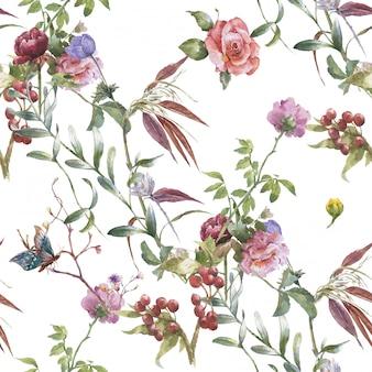 Pintura em aquarela de folhas e flores, sem costura padrão em branco
