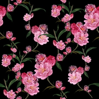 Pintura em aquarela de folhas e flores, sem costura padrão em fundo escuro