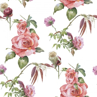 Pintura em aquarela de folhas e flores, sem costura padrão no fundo branco