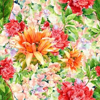 Pintura em aquarela de folhas e flores, sem costura padrão
