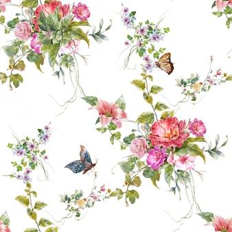 Pintura em aquarela de folhas e flores sem costura padrão