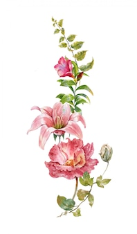 Pintura em aquarela de folhas e flores