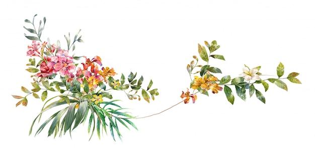 Pintura em aquarela de folhas e flores,