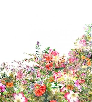 Pintura em aquarela de folhas e fundo de flores