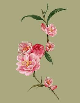 Pintura em aquarela de folhas e ilustração de flores