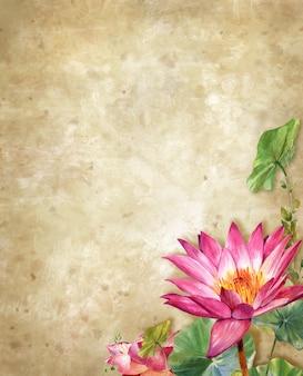 Pintura em aquarela de ilustração de flor, lotus com fundo áspero