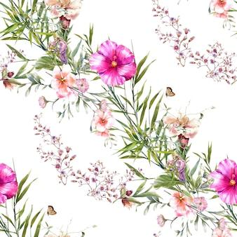 Pintura em aquarela de padrão sem emenda de folhas e flores em fundo branco
