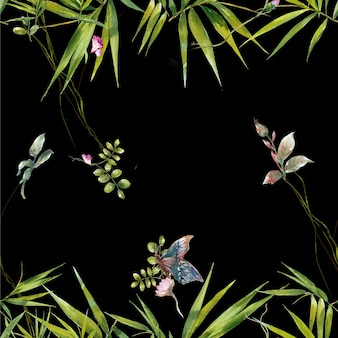 Pintura em aquarela de padrão sem emenda de folhas e flores em fundo escuro
