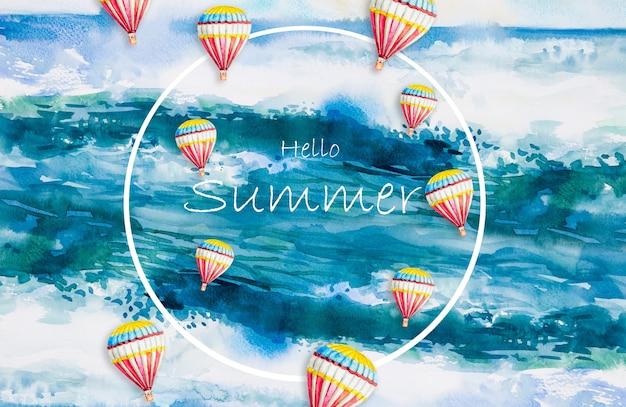 Pintura em aquarela de paisagem marinha com ondas de praia e balões de ar quente