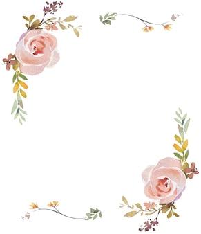 Pintura em aquarela de rosas e folhas em fundo branco