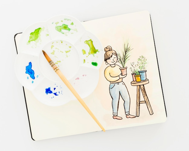 Pintura em aquarela de vista superior em cima da mesa