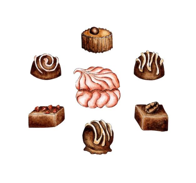 Pintura em aquarela doce conjunto pastelaria marshmallows e chocolates sobremesa para beber chá