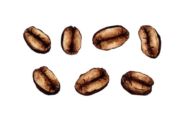 Pintura em aquarela grãos de café torrados isolados no fundo branco grãos de café marrom-escuros