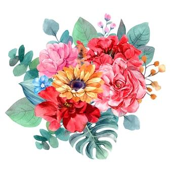 Pintura em aquarela isolada de buquê de flores para ilustração