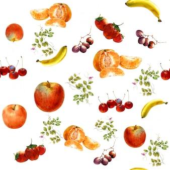 Pintura em aquarela muitas frutas