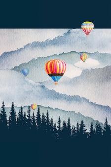 Pintura em aquarela paisagem colorida de balão de ar quente em fundo de floresta de montanha de pinheiros