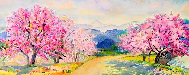 Pintura em aquarela paisagem de cerejeiras selvagens do himalaia