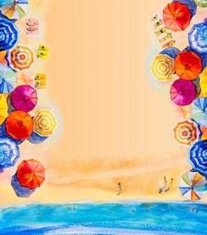 Pintura em aquarela seascape vista superior colorida dos amantes, família.