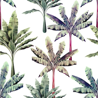 Pintura em aquarela tropical colorido deixa o plano de fundo padrão sem emenda.