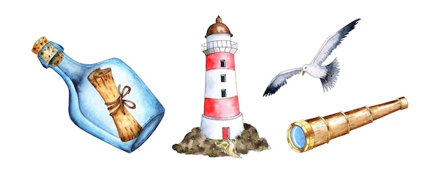 Pintura em aquarela uma garrafa de invocação um farol uma gaivota e um telescópio apoio naval