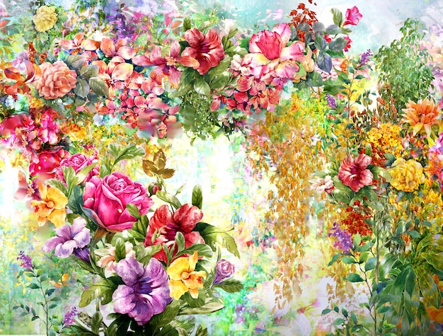 Pintura floral em aquarela