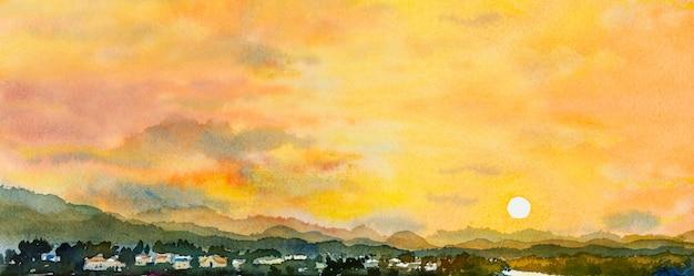 Pinturas de paisagens em aquarela, pôr do sol colorido da montanha e céu, ilustração do ambiente de pintura.