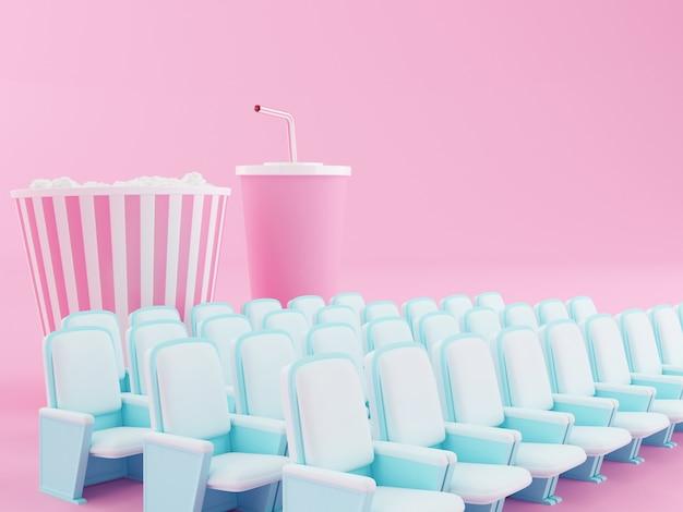 Pipoca e bebida 3d no assento do teatro.