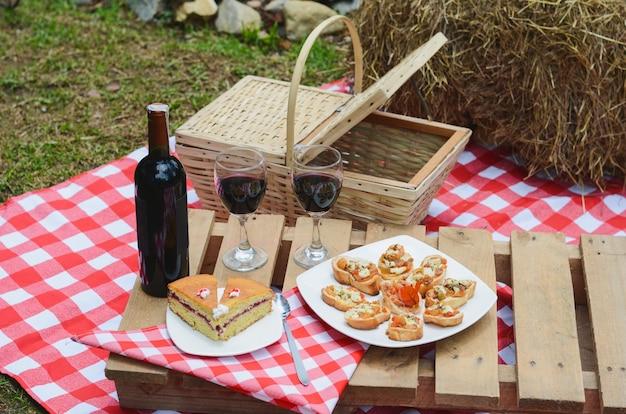 Piquenique ao ar livre com toalha de mesa quadriculada e cesta de alimentos.