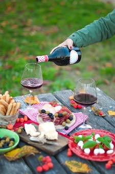Piquenique com comida italiana. vinho tinto. clareira verde. um jantar romântico. parmesão. salada. sais. mazarella. varas secas