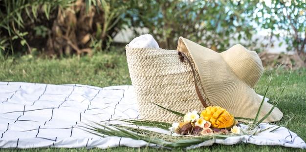 Piquenique de verão com um prato de frutas tropicais.