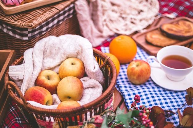 Piquenique de verão com uma cesta de comida no cobertor no parque.