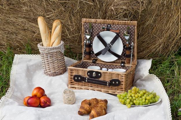 Piquenique na natureza: na baguette toalha de mesa, cesta de piquenique, pêssegos, uvas, croissants