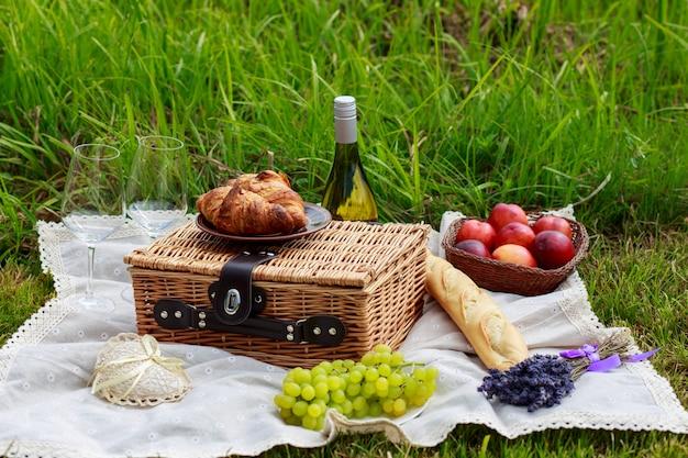 Piquenique na natureza: toalha de mesa, cesta de piquenique com talheres, baguete, uvas, pêssegos