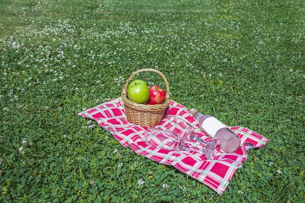 Piquenique romântico de verão ao ar livre.