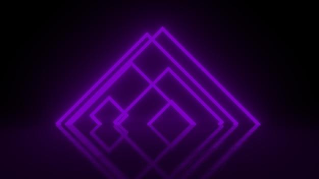 Pirâmide consistindo de listras de luz roxa brilhante neon abstrato em preto