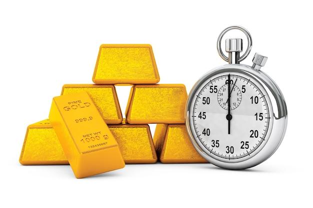 Pirâmide de barras de ouro com cronômetro em um fundo branco. renderização 3d