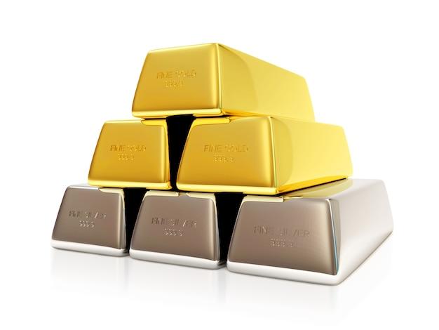 Pirâmide de barras de ouro e prata