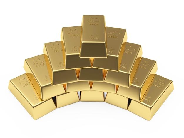 Pirâmide de barras douradas
