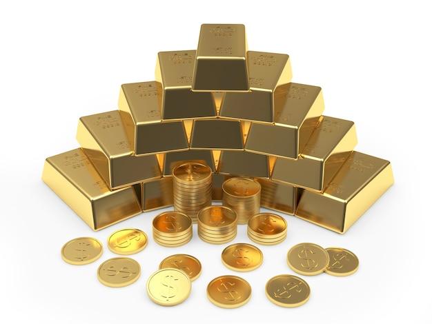 Pirâmide de moedas e barras de ouro