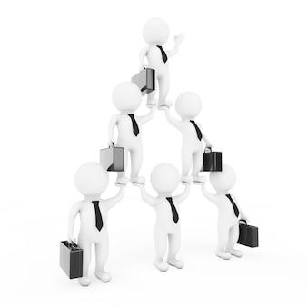 Pirâmide de personagem de equipe de businessmans 3d mostra hierarquia e trabalho em equipe em um fundo branco. renderização 3d