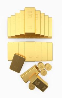 Pirâmide empilhada com barras de ouro