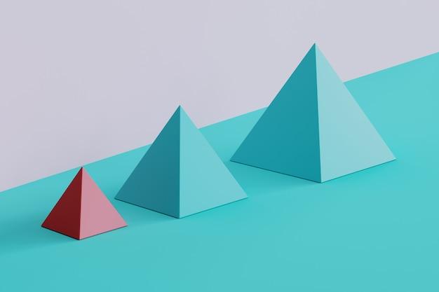 Pirâmide quadrado cor-de-rosa proeminente e pirâmides azuis no fundo azul e roxo. idéia de conceito mínimo