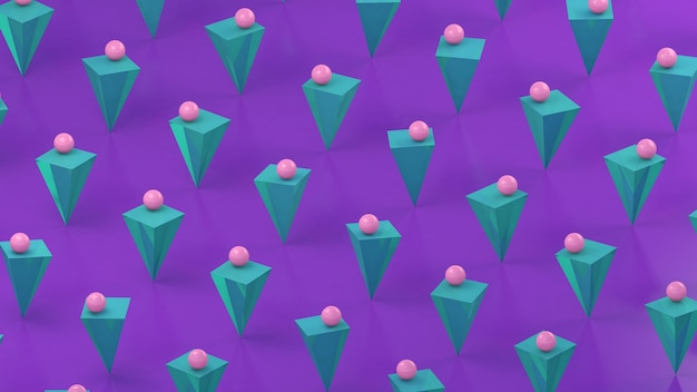 Pirâmides de azul menta e bolas rosa, fundo roxo. ilustração abstrata, renderização em 3d.