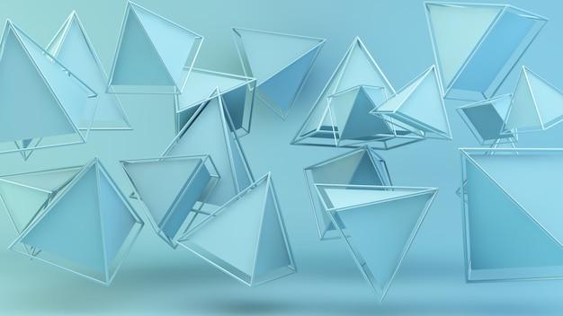 Pirâmides flutuantes azuis