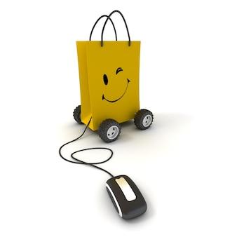 Piscando e sorrindo uma sacola de compras amarela sobre rodas conectada a um mouse de computador