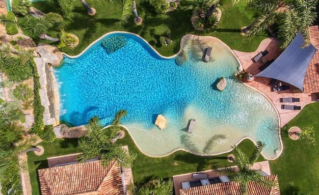 Piscina decorativa original no jardim com palmeiras, vista aérea.