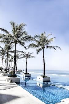 Piscina e palmeiras com vista para o mar. bali, indonésia. conceito de férias.