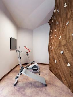 Piscina em casa particular com academia e parede de escalada em estilo loft